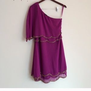 Fuchsia one shoulder dress